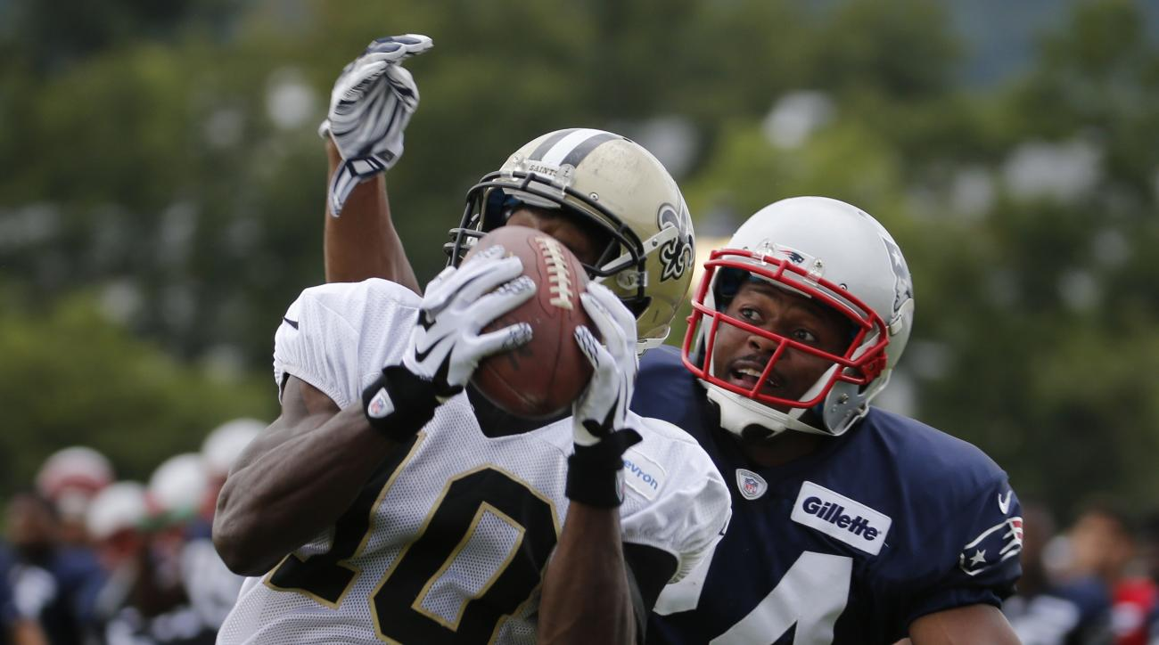 New Orleans Saints wide receiver Brandin Cooks (10) hauls in a pass in front of New England Patriots defensive back Bradley Fletcher (24) during a joint practice between the Patriots and New Orleans Saints at the Saint's NFL football training camp in Whit