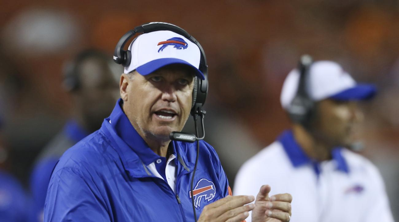 Buffalo Bills coach Rex Ryan cheers on the team during the fourth quarter of an NFL preseason football game against the Cleveland Browns, Thursday, Aug. 20, 2015, in Cleveland. (AP Photo/Ron Schwane)
