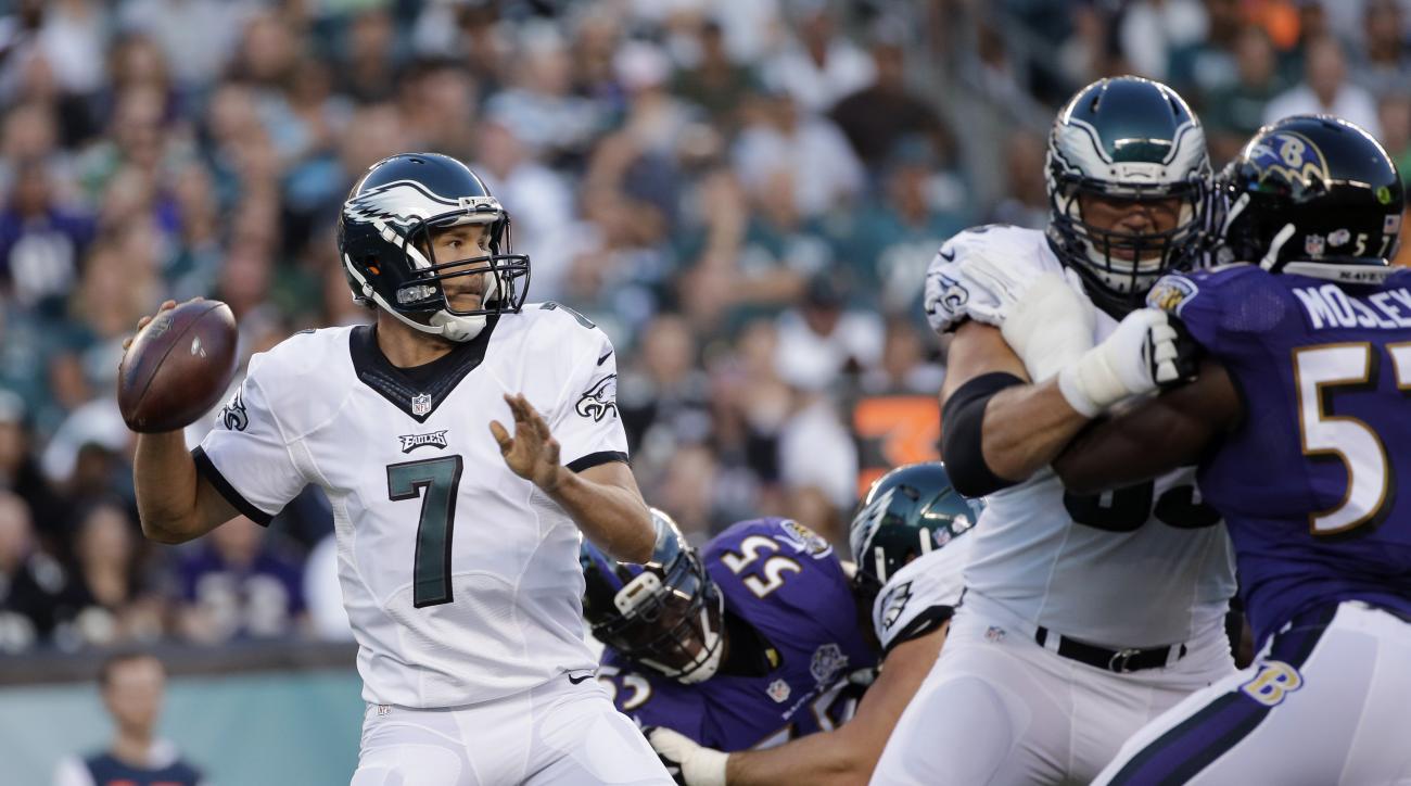 Philadelphia Eagles' Sam Bradford looks to pass during the first half of a preseason NFL football game against the Baltimore Ravens, Saturday, Aug. 22, 2015, in Philadelphia. (AP Photo/Michael Perez)