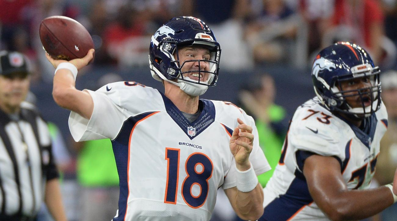 Denver Broncos' Peyton Manning (18) throws against the Houston Texans during the first half of an NFL preseason football game, Saturday, Aug. 22, 2015, in Houston. (AP Photo/George Bridges)