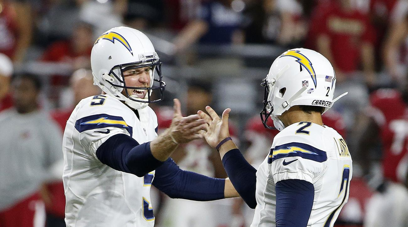 San Diego Chargers' Josh Lambo (2) celebrates his game-winning field goal against the Arizona Cardinals with holder Mike Scifres (5) as time expires in the second half of an NFL preseason football game Saturday, Aug. 22, 2015, in Glendale, Ariz. The Charg
