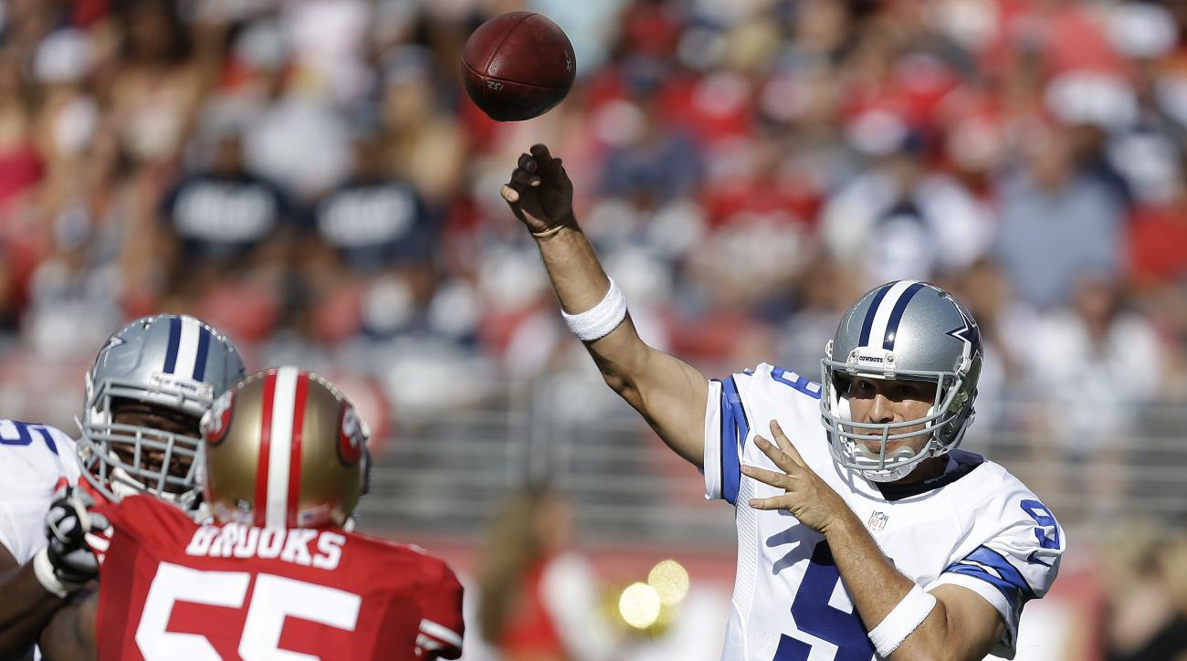 Dallas Cowboys quarterback Tony Romo (9) passes as San Francisco 49ers linebacker Ahmad Brooks (55) applies pressure during the first half of an NFL preseason football game in Santa Clara, Calif., Sunday, Aug. 23, 2015. (AP Photo/Ben Margot)