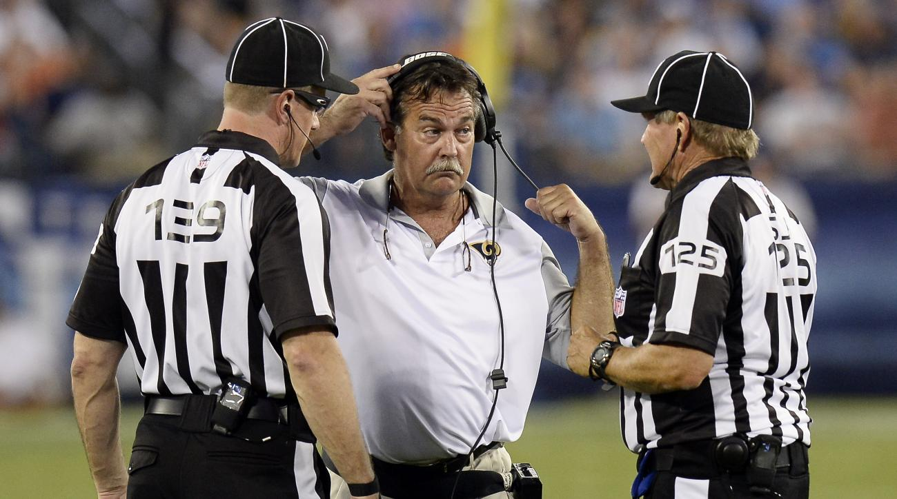 St. Louis Rams coach Jeff Fisher talks with second umpire Alan Eck (139) and side judge Laird Hayes (125) in the first half of a preseason NFL football game against the Tennessee Titans Sunday, Aug. 23, 2015, in Nashville, Tenn. (AP Photo/Mark Zaleski)
