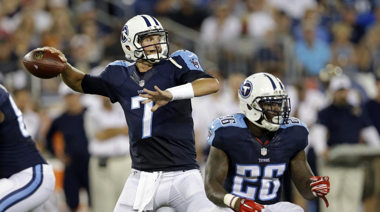 Tennessee Titans quarterback Zach Mettenberger (7) passes as running back Antonio Andrews (26) blocks in the first half of a preseason NFL football game against the St. Louis Rams, Sunday, Aug. 23, 2015, in Nashville, Tenn. (AP Photo/James Kenney)