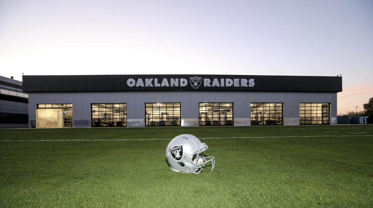 This Aug. 25, 2015, photo, provided by The Oakland Raiders, shows the Oakland Raiders Performance Center in Alameda, Calif. The team has brand new practice fields to go along with an 18,500-square-foot building that features four times as much equipment a
