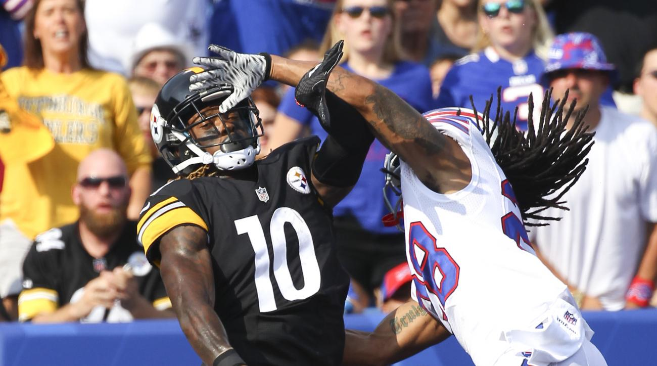 Buffalo Bills cornerback Ronald Darby (28) interferes with Pittsburgh Steelers wide receiver Martavis Bryant (10) during the first half of a preseason NFL football game on Saturday, Aug. 29, 2015, in Orchard Park, N.Y. (AP Photo/Bill Wippert)