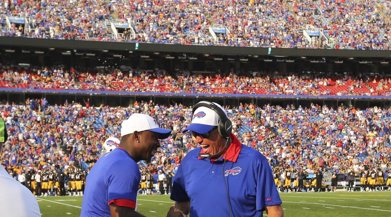 Buffalo Bills head coach Rex Ryan, right, and running back LeSean McCoy celebrate after a touchdown during the second half of a preseason NFL football game against the Pittsburgh Steelers, Saturday, Aug. 29, 2015, in Orchard Park, N.Y. (AP Photo/Bill Wipp