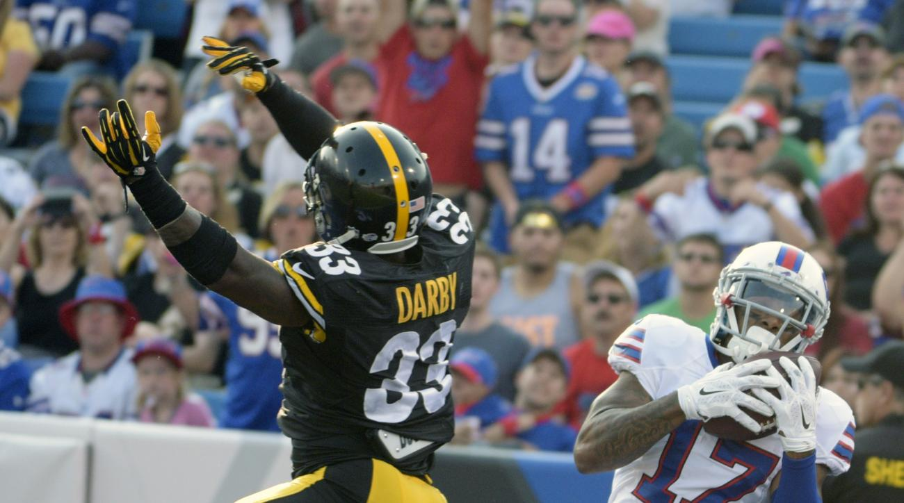 Buffalo Bills wide receiver Tobais Palmer (17) catches a touchdown pass next to Pittsburgh Steelers defensive back Alden Darby (33) during the second half of a preseason NFL football game Saturday, Aug. 29, 2015, in Orchard Park, N.Y. (AP Photo/Gary Wiepe