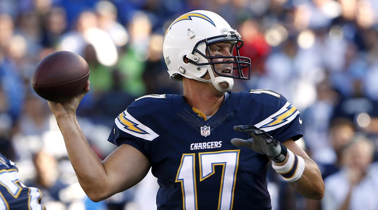 San Diego Chargers quarterback Philip Rivers throws against the Seattle Seahawks during the first half of a preseason NFL football game Saturday, Aug. 29, 2015, in San Diego. (AP Photo/Lenny Ignelzi)