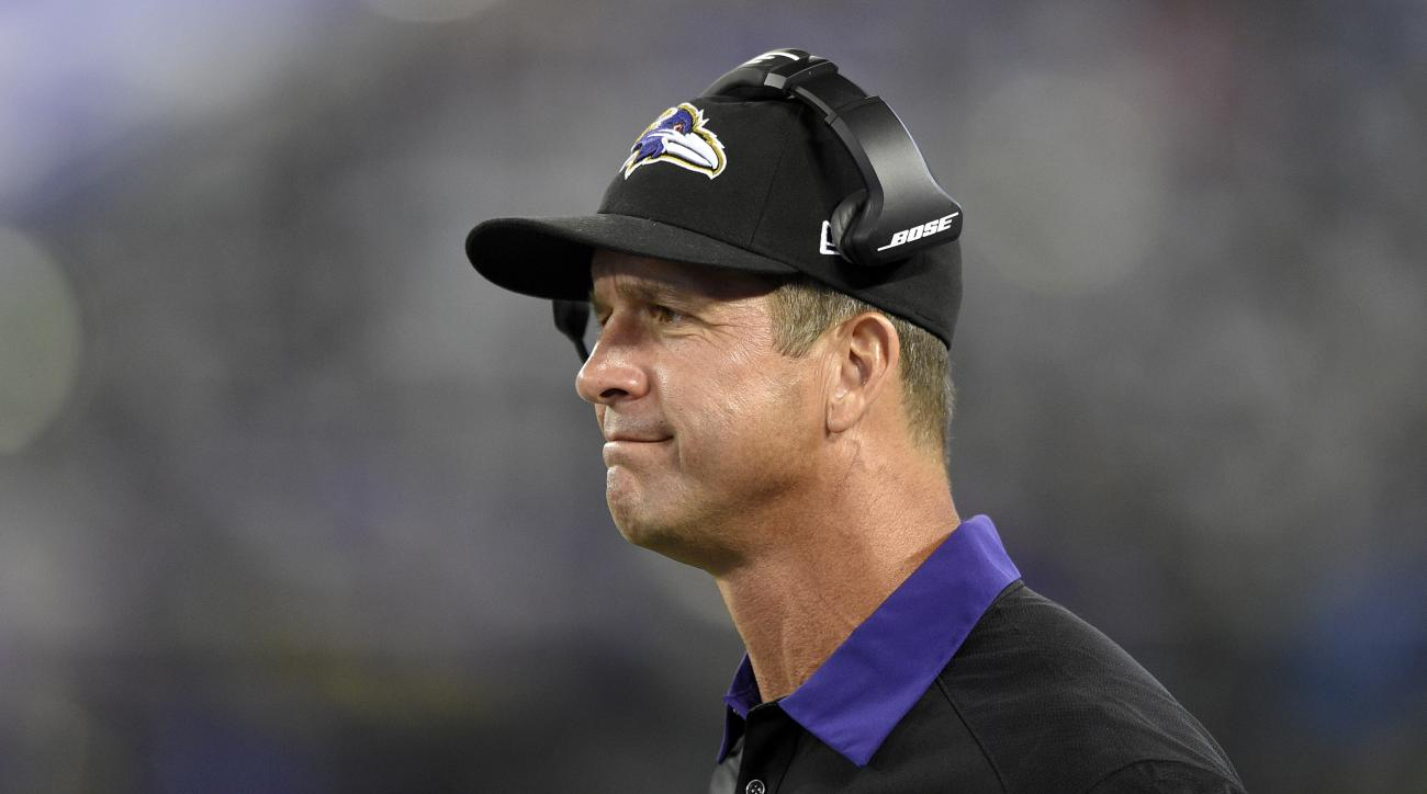 Baltimore Ravens head coach John Harbaugh watches from the sideline in the second half of a preseason NFL football game against the Washington Redskins, Saturday, Aug. 29, 2015, in Baltimore. (AP Photo/Nick Wass)
