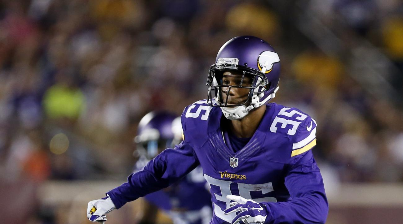 FILE - In this Aug. 15, 2015, file photo, Minnesota Vikings cornerback Marcus Sherels plays during the first half of a preseason NFL football game against the Tampa Bay Buccaneers in Minneapolis. Every year Sherels shows up to Vikings training camp, he fi