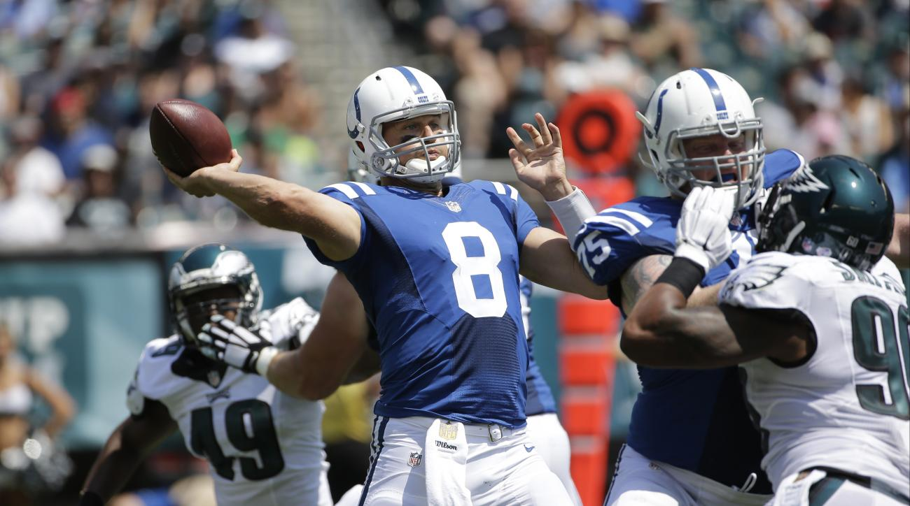 FILE - In this Aug. 16 2015, file photo, Indianapolis Colts quarterback Matt Hasselbeck passes during the first half of a preseason NFL football game against the Philadelphia Eagles in Philadelphia. The 39-year-old quarterback has a one-year contract and