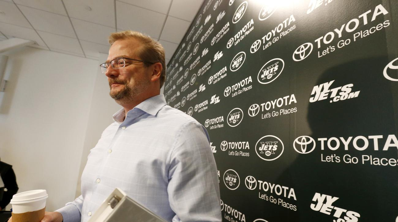 FILE - In this April 24, 2015, file photo, New York Jets general manager Mike Maccagnan speaks to reporters after an NFL football news conference in Florham Park, N.J. The 48-year-old Maccagnan is the man charged with returning the franchise to respectabi