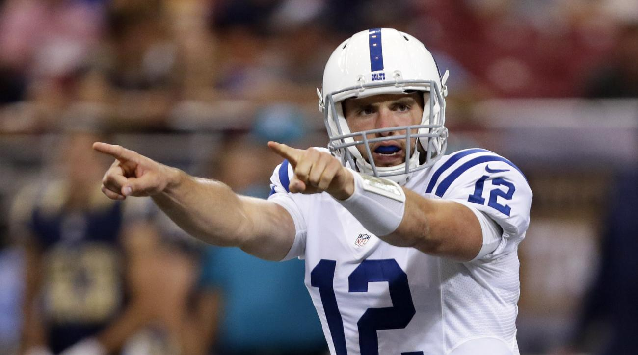 FILE - In this Aug. 29, 2015, file photo, Indianapolis Colts quarterback Andrew Luck points during the first quarter of an NFL preseason football game against the St. Louis Rams in St. Louis. Yes, the Colts once again are thinking Super Bowl. With Andrew