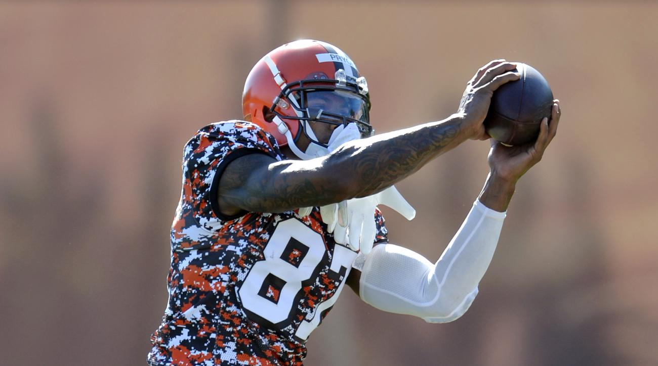 FILE - In this Aug. 4, 2015, file photo, Cleveland Browns wide receiver Terrelle Pryor catches a pass during practice at NFL football training camp in Berea, Ohio. Terrelle Pryor may be down to his last chance to make Cleveland's roster. The former Raider