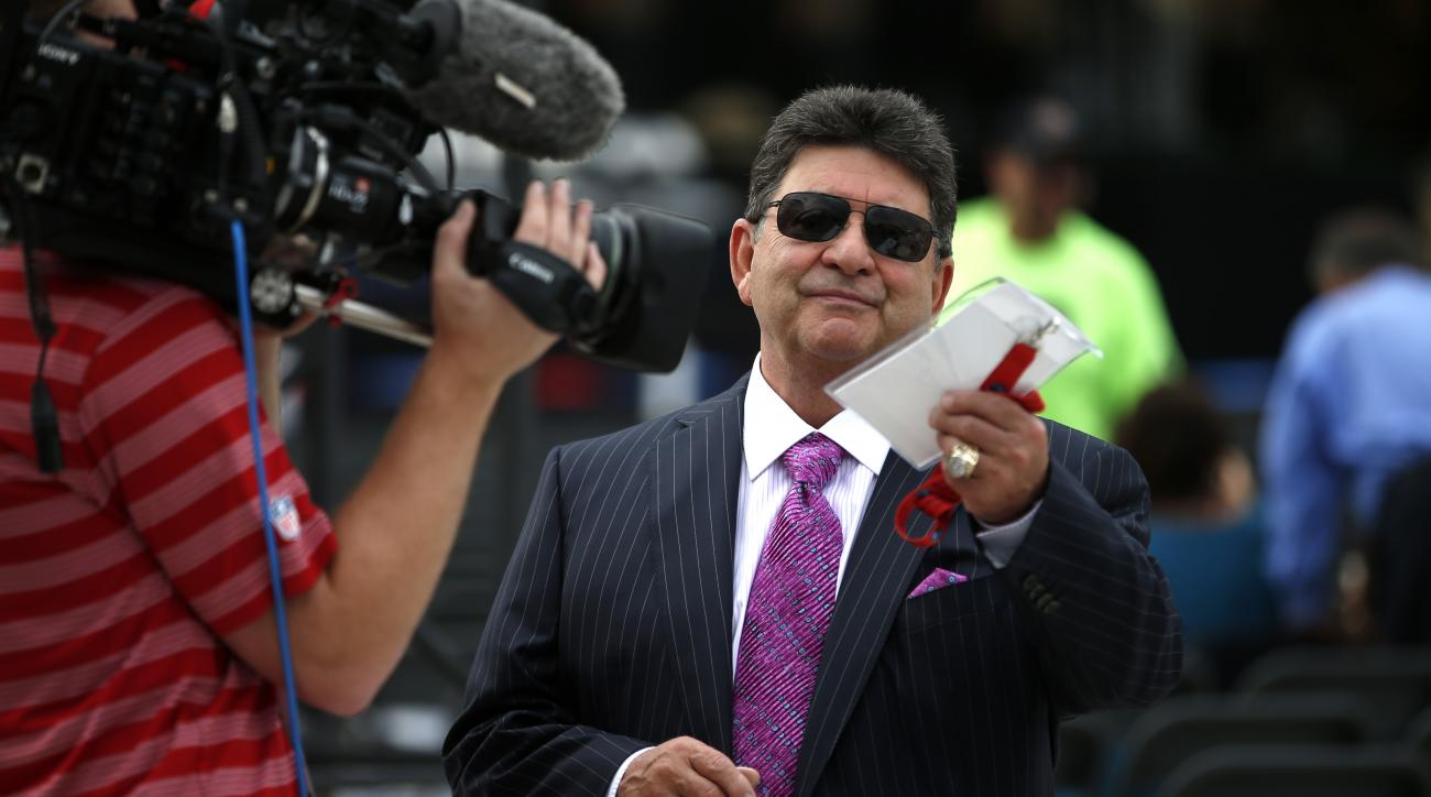 Former owner of the San Francisco 49ers, and Pro Football Hall of Fame presenter for Charles Haley, Edward DeBartolo, Jr., is interviewed before the Pro Football Hall of Fame ceremony at Tom Benson Hall of Fame Stadium, Saturday, Aug. 8, 2015, in Canton,