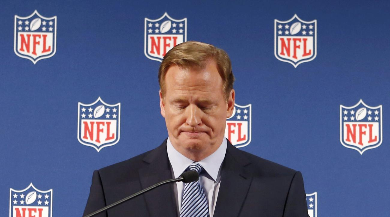"FILE - In this Sept. 19, 2014, file photo, NFL Commissioner Roger Goodell pauses as he speaks during a news conference in New York. A federal judge deflated ""Deflategate"" Thursday, Sept. 3, 2015, erasing New England quarterback Tom Brady's four-game suspe"