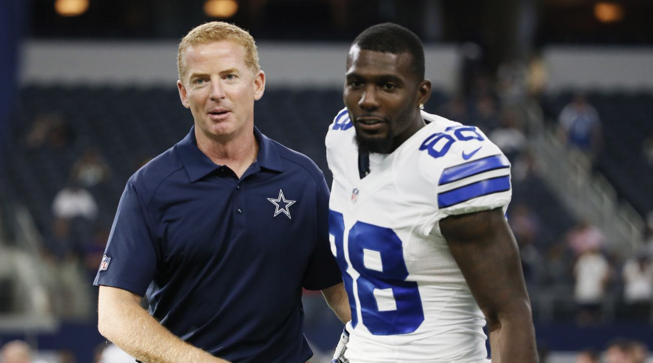 Dallas Cowboys head coach Jason Garrett and wide receiver Dez Bryant (88) greet before a preseason NFL football game against the Houston Texans, Thursday, Sept. 3, 2015, in Arlington, Texas. (AP Photo/Tony Gutierrez)