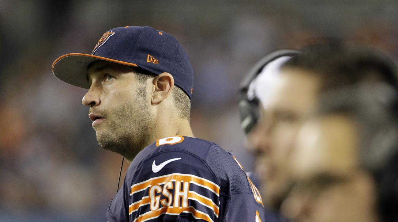 Chicago Bears quarterback Jay Cutler (6) watches from the sideline during the first half of an NFL preseason football game against the Cleveland Browns, Thursday, Sept. 3, 2015, in Chicago. (AP Photo/Nam Y. Huh)