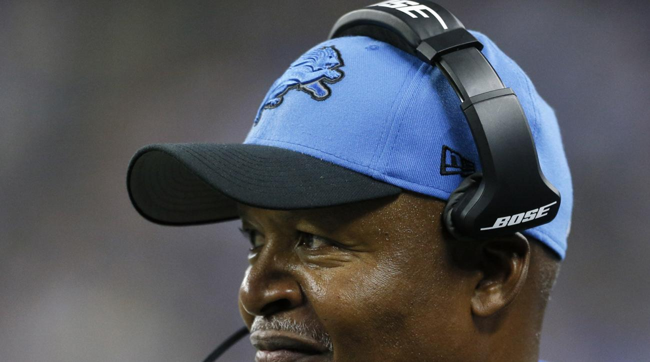 Detroit Lions head coach Jim Caldwell watches during the second half of an NFL preseason football game against the Buffalo Bills, Thursday, Sept. 3, 2015, in Detroit. (AP Photo/Rick Osentoski)