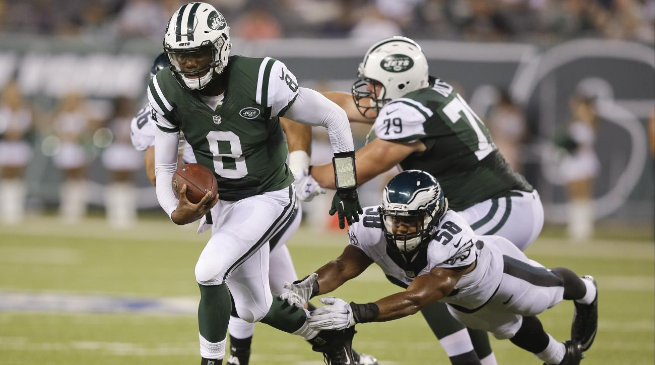 Philadelphia Eagles outside linebacker Jordan Hicks (58) dives for New York Jets' quarterback Josh Johnson (8) during the second half of a preseason NFL football game Thursday, Sept. 3, 2015  in East Rutherford, N.J. The Jets won 24-18.(AP Photo/Mel Evans