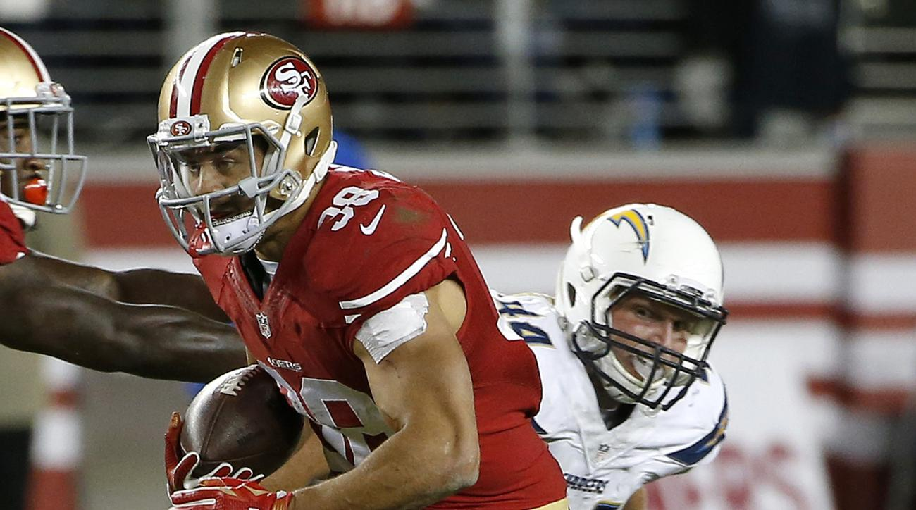 San Francisco 49ers running back Jarryd Hayne (38) runs past San Diego Chargers linebacker Ryan Mueller during the first half of an NFL preseason football game in Santa Clara, Calif., Thursday, Sept. 3, 2015. (AP Photo/Tony Avelar)