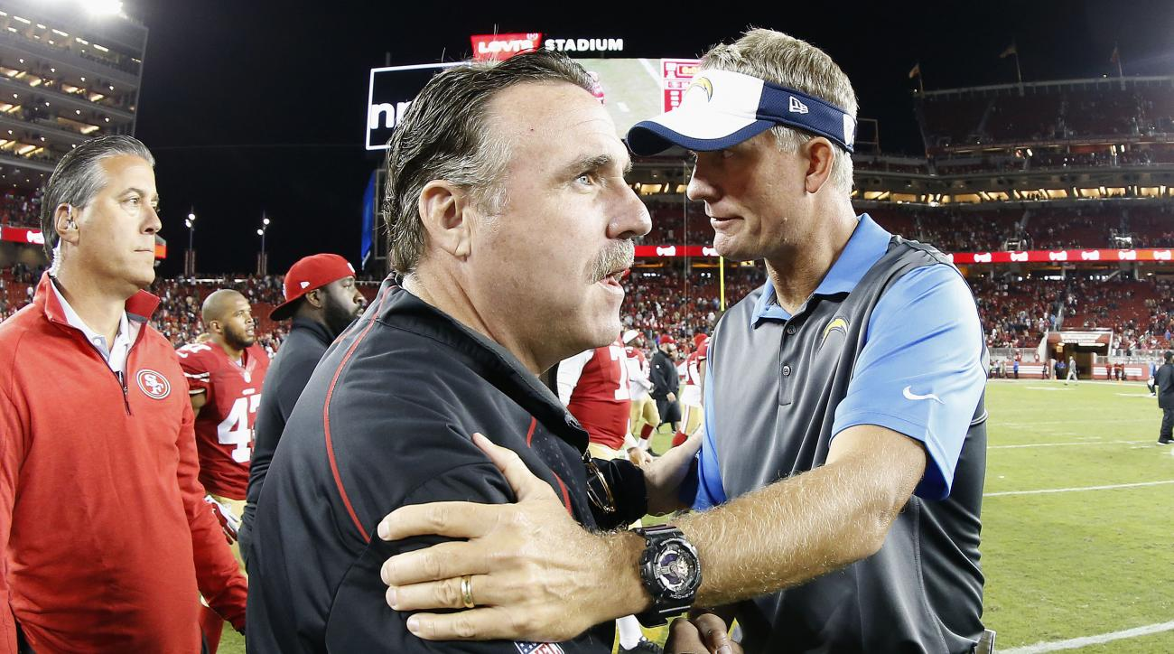 In this photo taken with a fisheye lens, San Francisco 49ers head coach Jim Tomsula, center left, greets San Diego Chargers head coach Mike McCoy after an NFL preseason football game in Santa Clara, Calif., Thursday, Sept. 3, 2015. The 49ers won 14-12. (A