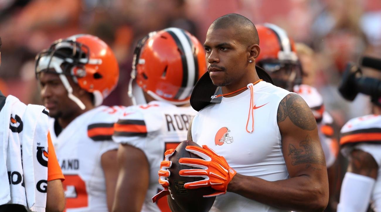 FILE - In this Aug. 20, 2015, file photo, Cleveland Browns wide receiver Terrelle Pryor (87) against the Buffalo Bills before an NFL preseason football game in Cleveland. The former Ohio State and Oakland raiders quarterback made the Browns' roster as a w