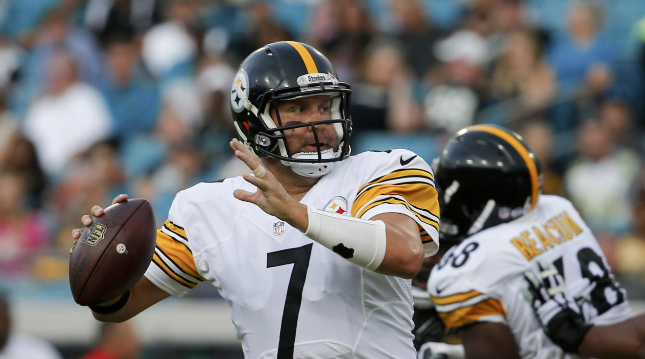 FILE - In this Aug. 14, 2015, file photo, Pittsburgh Steelers quarterback Ben Roethlisberger (7) looks for a receiver during the first half of an NFL preseason football game against the Jacksonville Jaguars in Jacksonville, Fla. Roethlisberger cashed in o