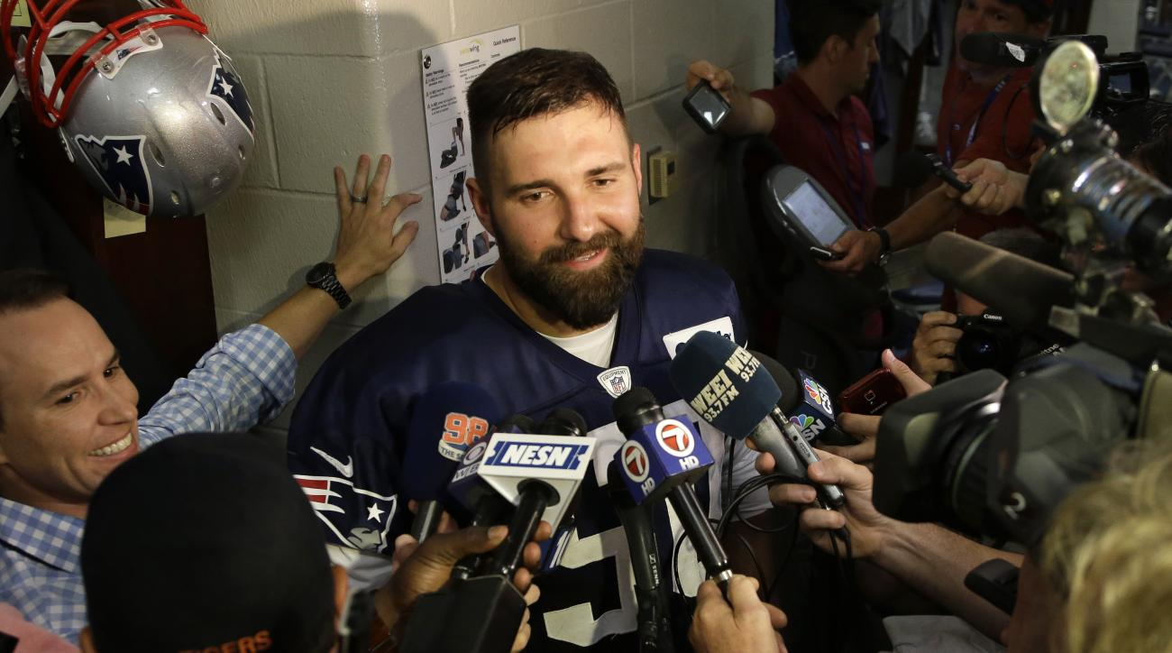 New England Patriots defensive end Rob Ninkovich speaks with reporters following an NFL football practice, Tuesday, Sept. 8, 2015, in Foxborough, Mass. (AP Photo/Steven Senne)