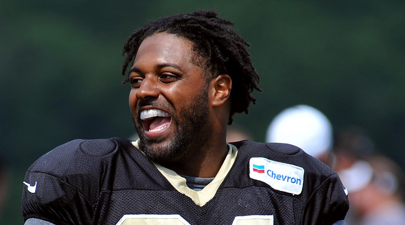 New Orleans Saints defensive end Cameron Jordan (94) during the team's NFL football training camp in White Sulphur Springs, W. Va., Wednesday, Aug. 5, 2015. (AP Photo/Chris Tilley)