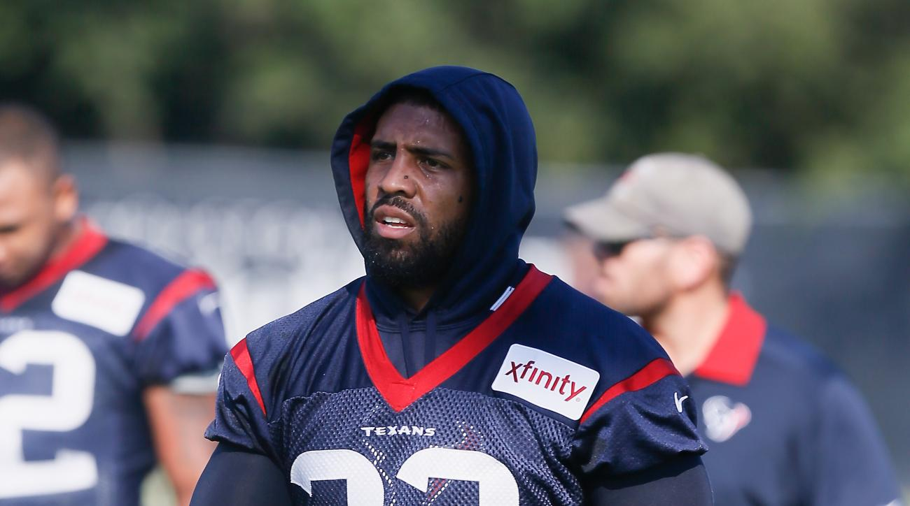 Houston Texans running back Arian Foster (23) walks from field to field during an NFL football training camp at the Methodist Training Center on Sunday August 2, 2015 in Houston. (AP Photo/Bob Levey)
