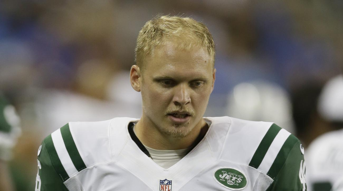 FILE - This is an Aug. 13, 2015, file photo showing New York Jets long snapper Tanner Purdum (46) during the first half of an NFL preseason football game against the Detroit Lions in Detroit. As the family legend goes, Tanner Purdum was about 3 years old
