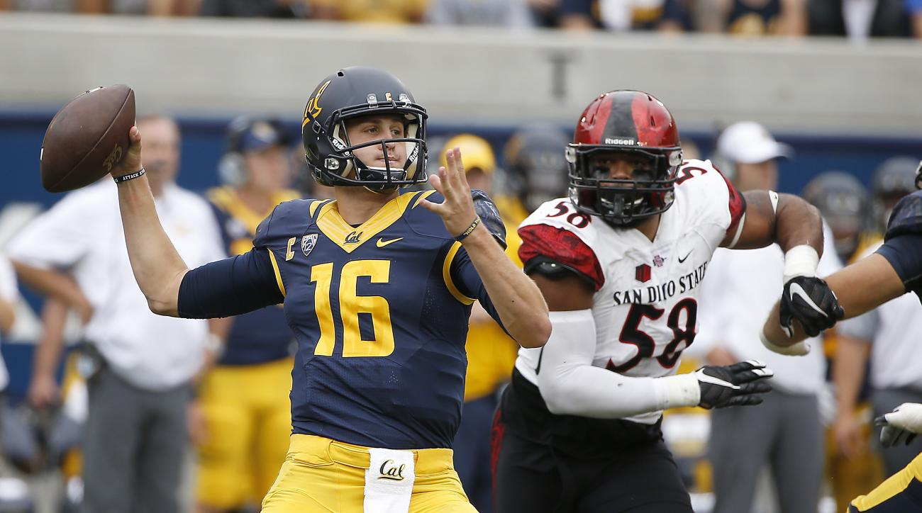 California quarterback Jared Goff (16) passes under pressure by San Diego State defensive lineman Alex Barrett (58) during the first half of an NCAA college football game Saturday, Sept. 12, 2015, in Berkeley, Calif. (AP Photo/Tony Avelar)