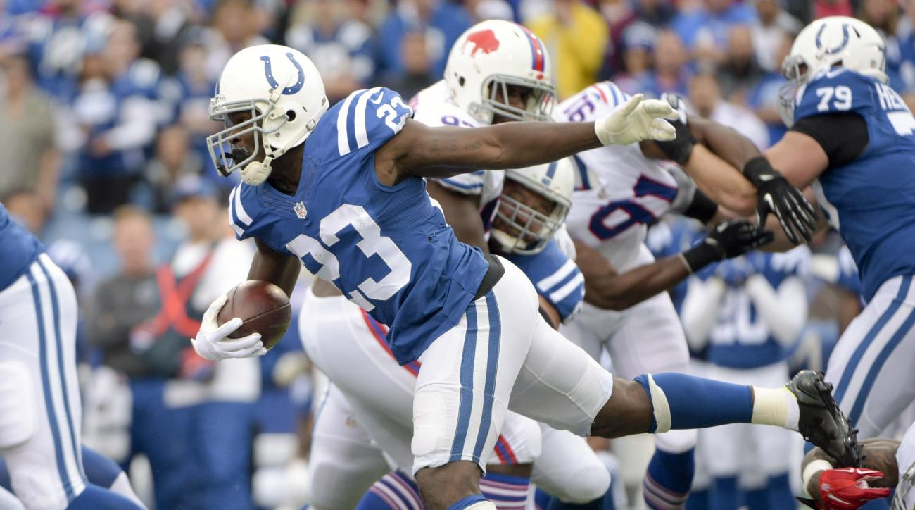 Indianapolis Colts running back Frank Gore (23) gains yards on a run against the Buffalo Bills during the first half of an NFL football game on Sunday, Sept. 13, 2015, in Orchard Park, N.Y. (AP Photo/Gary Wiepert)