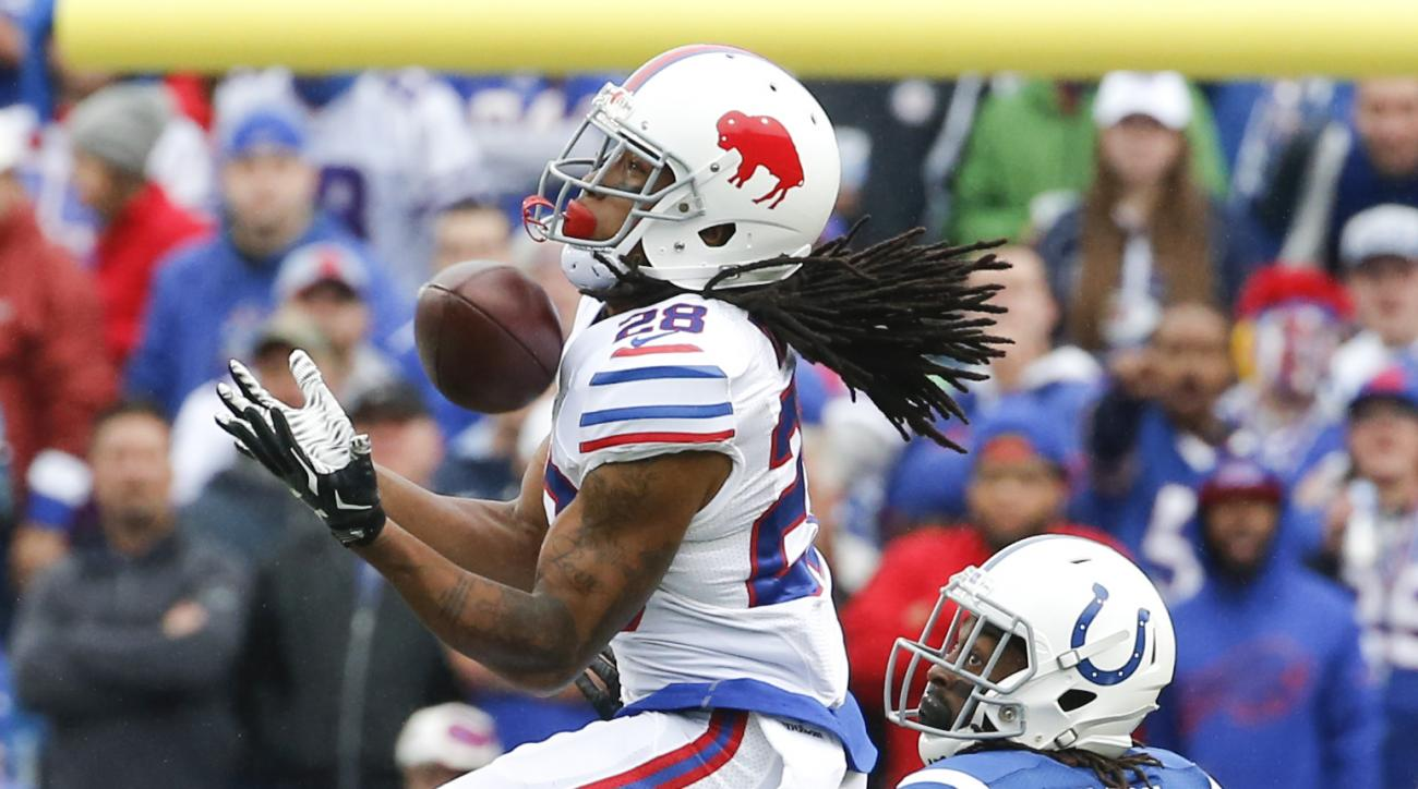 Buffalo Bills cornerback Ronald Darby (28) intercepts a pass intended for Indianapolis Colts wide receiver T.Y. Hilton (13) during the first half of an NFL football game on Sunday, Sept. 13, 2015, in Orchard Park, N.Y. (AP Photo/Bill Wippert)