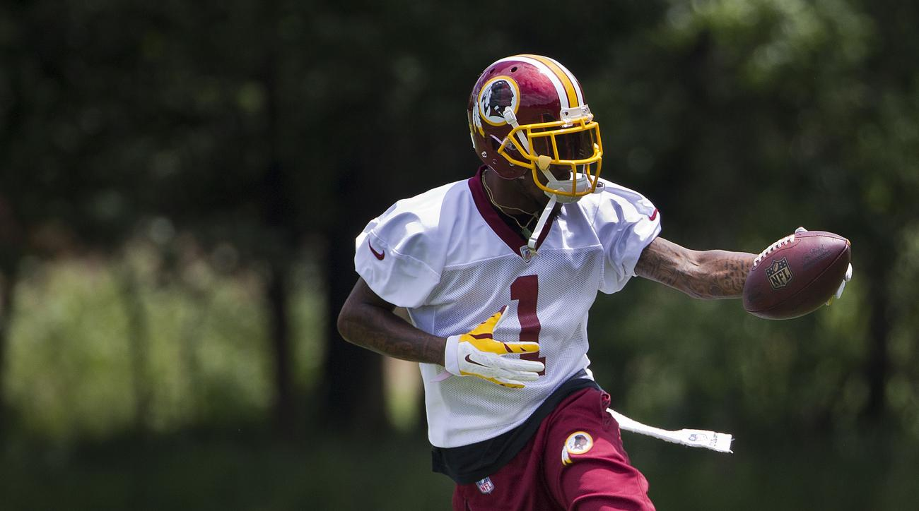 Washington Redskins DeSean Jackson takes part in drills during NFL football minicamp at Redskins Park Tuesday, June 16, 2015 in Ashburn, Va. (AP Photo/Pablo Martinez Monsivais)
