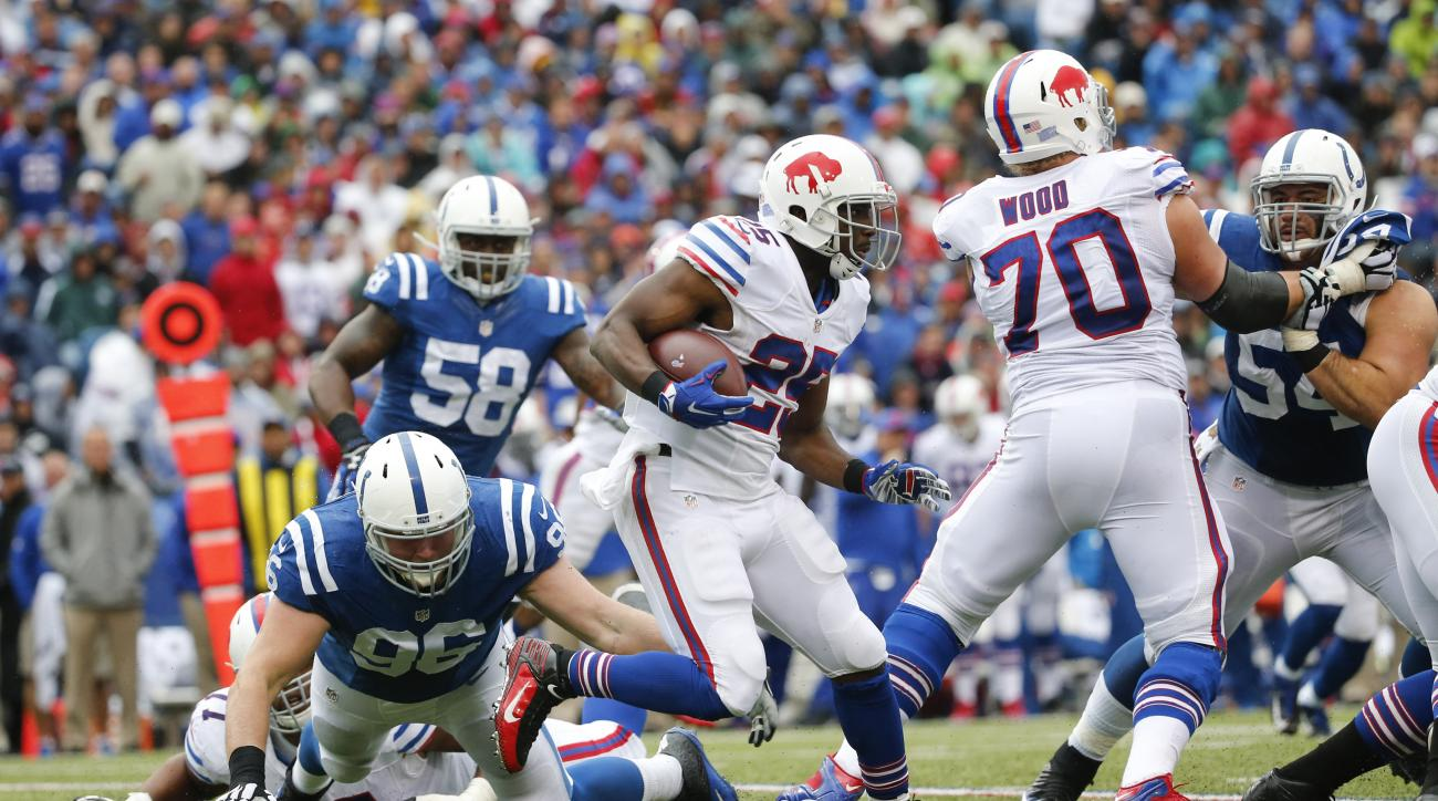 Buffalo Bills running back LeSean McCoy (25) gains yards in front of Indianapolis Colts defensive end Henry Anderson (96) during the second half of an NFL football game on Sunday, Sept. 13, 2015, in Orchard Park, N.Y. (AP Photo/Bill Wippert)