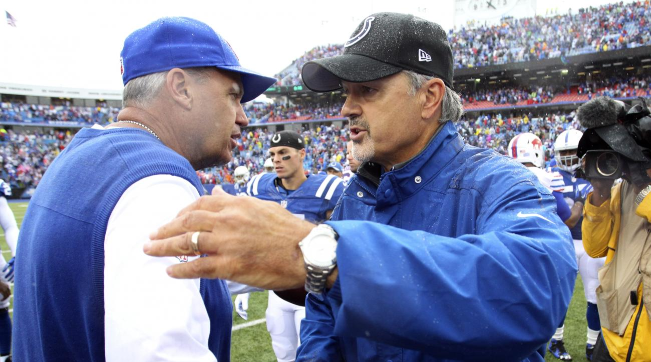 Buffalo Bills head coach Rex Ryan, left, and Indianapolis Colts head coach Chuck Pagano shake hands after an NFL football game on Sunday, Sept. 13, 2015, in Orchard Park, N.Y. Buffalo won 27-14. (AP Photo/Bill Wippert)