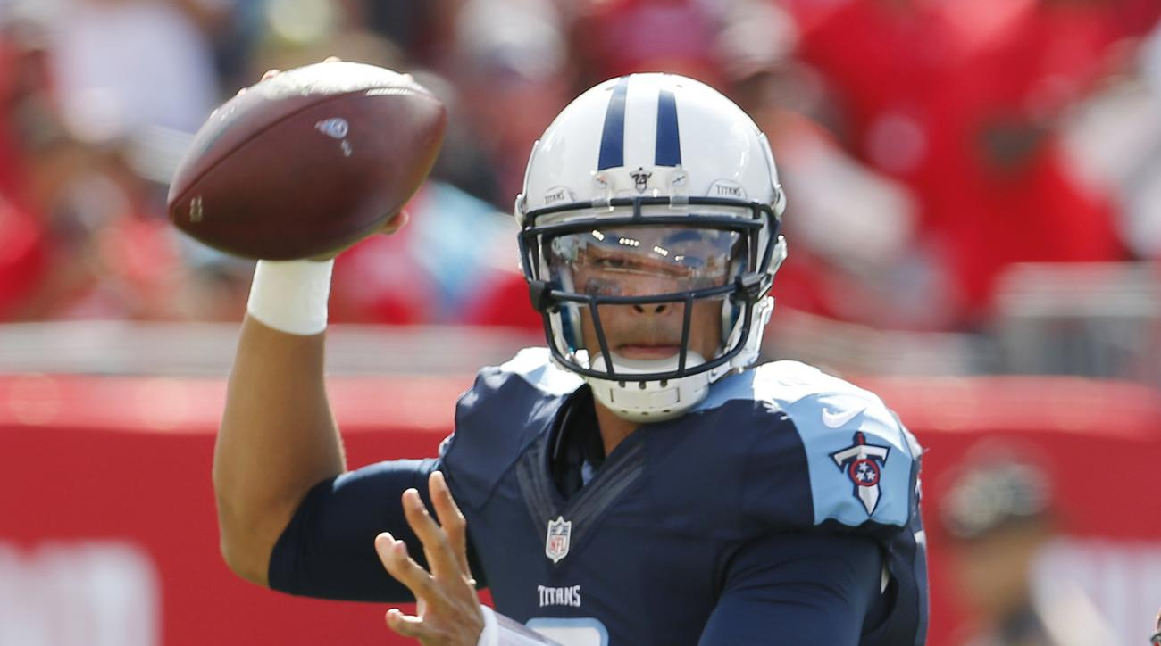 Tennessee Titans quarterback Marcus Mariota (8) looks to pass during the first half of an NFL football game against the Tampa Bay Buccaneers, Sunday, Sept. 13, 2015, in Tampa, Fla. (AP Photo/Scott Audette)