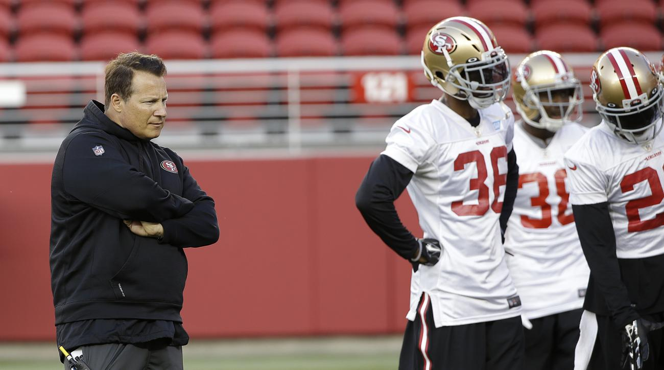 "FILE- In this Aug. 1, 2015, file photo, San Francisco 49ers defensive coordinator Eric Mangini, left, watches during  NFL football training camp in Santa Clara, Calif. Linebacker Michael Wilhoite calls him ""Mangenius."" That nickname for 49ers defensive co"