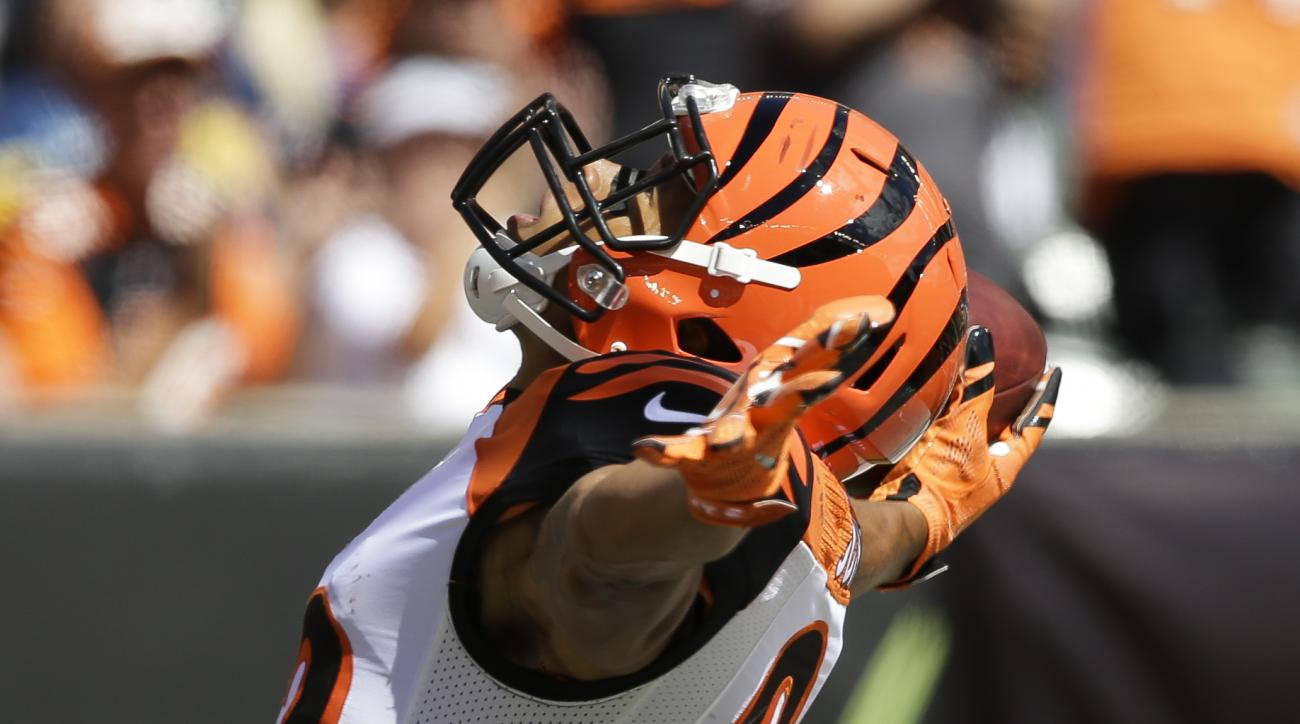 Cincinnati Bengals wide receiver Marvin Jones reacts after scoring a touchdown in the first half of an NFL football game against the San Diego Chargers, Sunday, Sept. 20, 2015, in Cincinnati. (AP Photo/Darron Cummings)