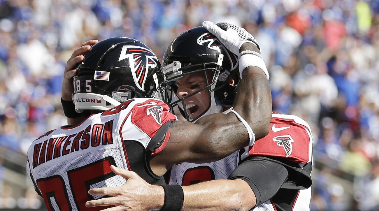 Atlanta Falcons wide receiver Leonard Hankerson, left, and quarterback Matt Ryan celebrate after Hankerson caught a touchdown pass from Ryan during the second half of an NFL football game against the New York Giants, Sunday, Sept. 20, 2015, in East Ruther