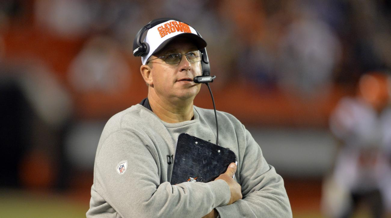 FILE- In this Aug. 20, 2015, file photo, Cleveland Browns offensive line coach Andy Moeller stands on the sideline during an NFL preseason football game against the Buffalo Bills in Cleveland. Moeller, who is suspended, will not be charged for an alleged