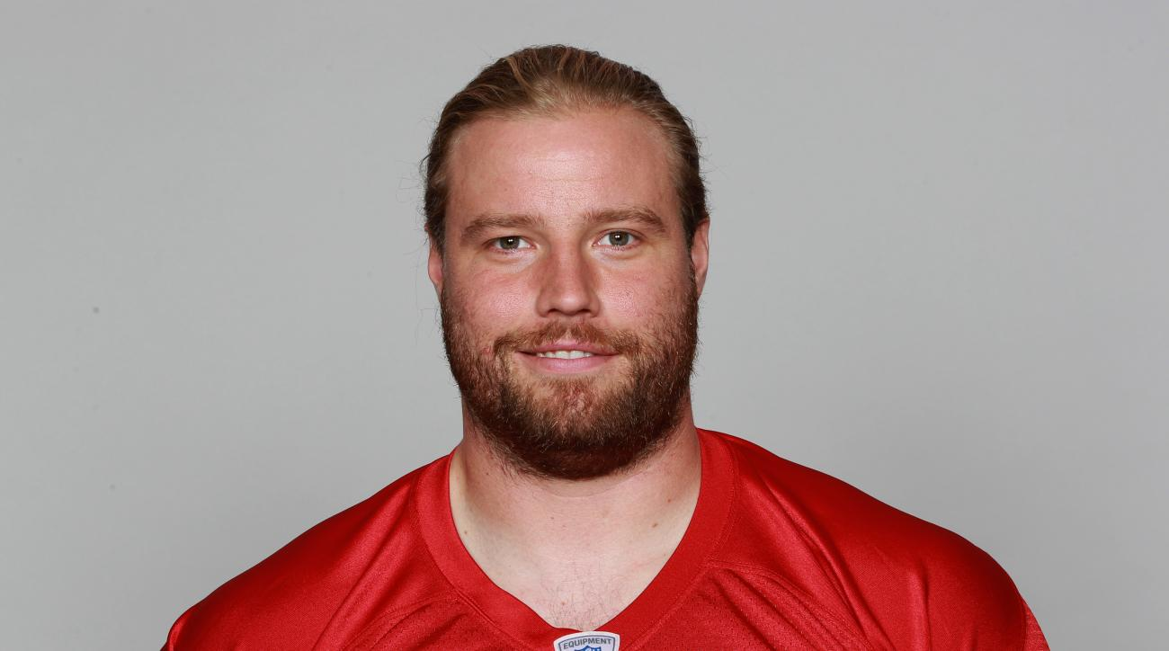FILE - In this June 15, 2015, file photo, Atlanta Falcon' Brooks Reed poses for an NFL football photo in Flowery Branch, Ga. It will be at least another week before linebacker Reed debuts with the Falcons. Reed practiced Friday, Sept. 25, 2015, for the se