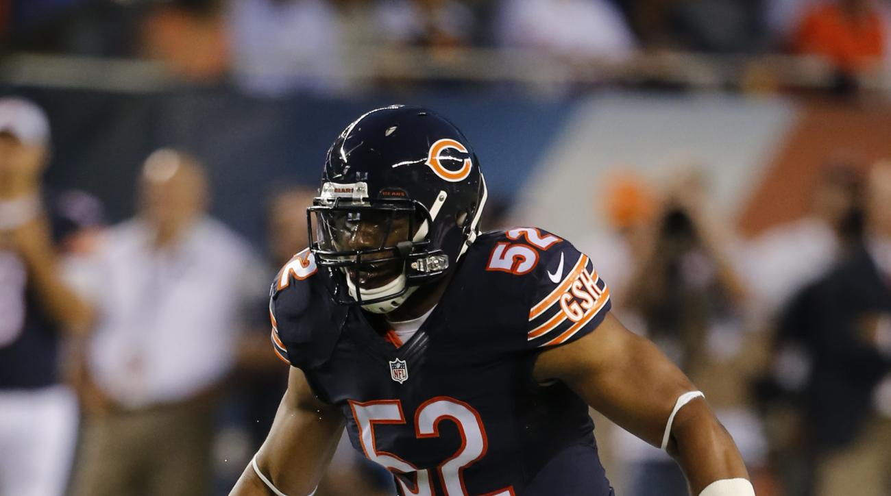 Chicago Bears linebacker Jonathan Bostic (52) drops back into pass coverage during the first half of a preseason NFL football game against the Miami Dolphins Thursday, Aug. 13, 2015, in Chicago. (AP Photo/Christian K. Lee)
