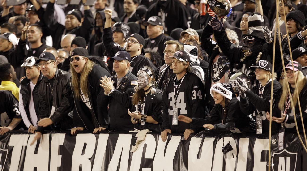 FILE - In this Dec. 6, 2012, file photo, The Black Hole fan section is shown during the third quarter of an NFL football game between the Oakland Raiders and the Denver Broncos in Oakland, Calif. The south end zone sections of Oakland-Alameda County Colis