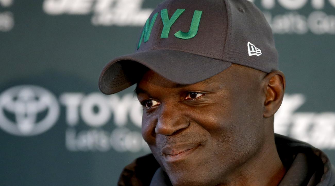 New York Jets head coach Todd Bowles gives a press conference after an NFL training session at London Irish training ground in south west London, Friday, Oct. 2, 2015. The New York Jets are preparing for an NFL football game against the Miami Dolphins at
