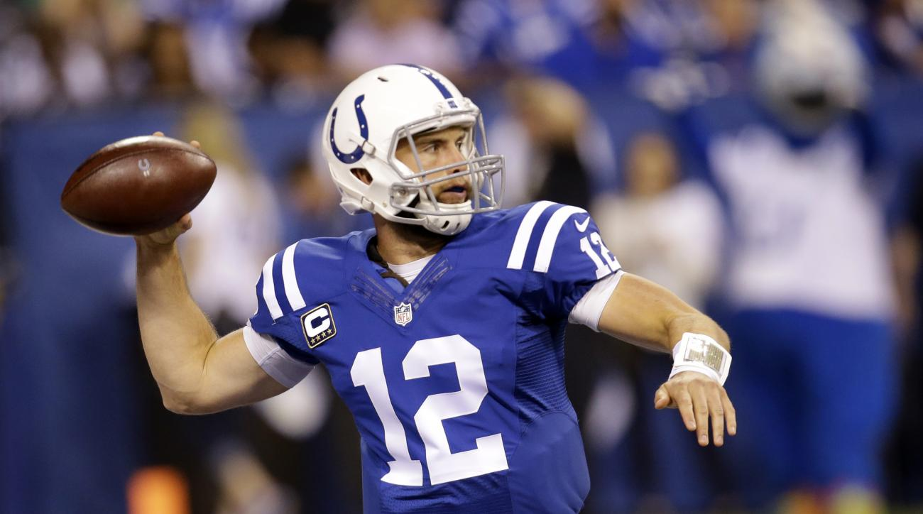 FILE - In a Monday, Sept. 21, 2015 file photo, Indianapolis Colts quarterback Andrew Luck (12) throws against the New York Jets in the first half of an NFL football game in Indianapolis. Luck is inactive on Sunday, Oct. 4, 2015, and will miss his first NF