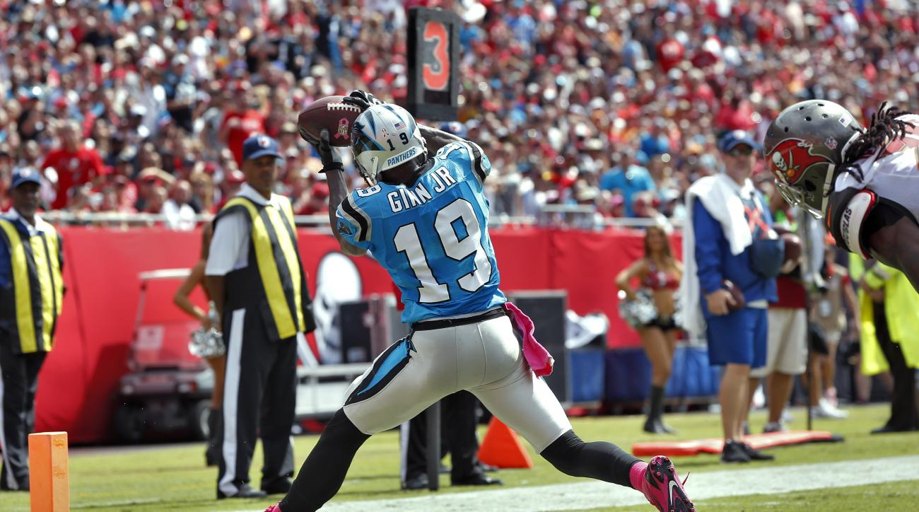 Carolina Panthers wide receiver Ted Ginn Jr.(19) pulls in a seven-yard touchdown reception during the second quarter of an NFL football game against the Tampa Bay Buccaneers, Sunday, Oct. 4, 2015, in Tampa, Fla. (AP Photo/Brian Blanco)